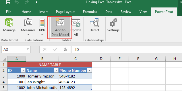 Linking Excel Tables 06