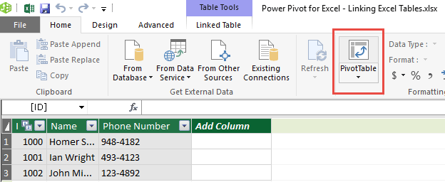 Linking Excel Tables 12