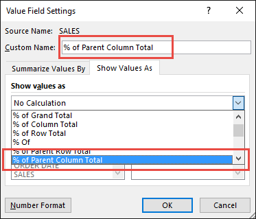 Percent of Parent Column Total 04