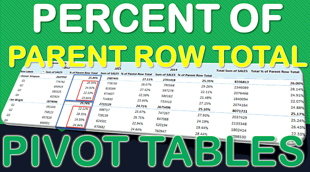 Show The Percent of Parent Row Total With Excel Pivot Tables