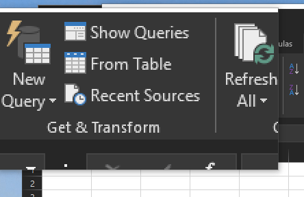 Get & Transform Icon in Excel 2016