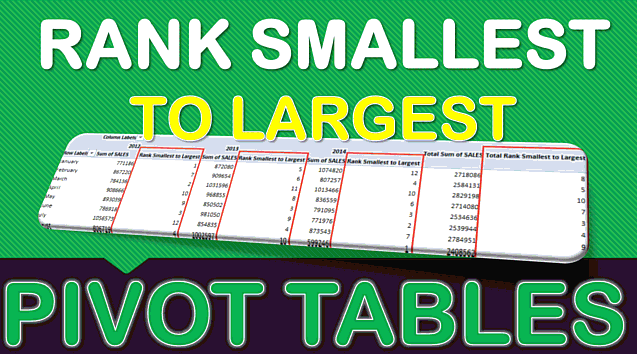 Rank Smallest to Largest With Excel Pivot Tables
