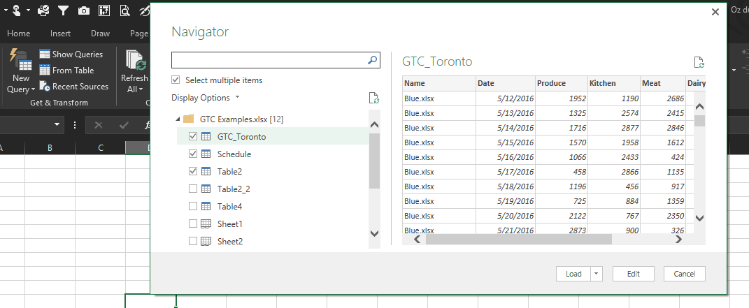 Excel Power Query Navigator Pane Import Sheets