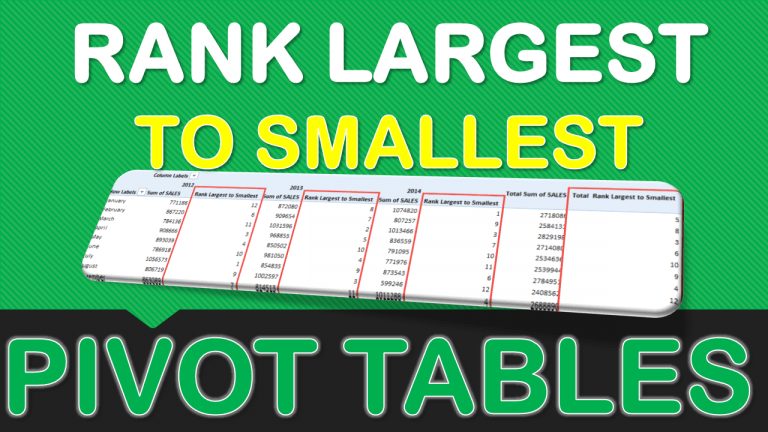 Rank Largest to Smallest With Excel Pivot Tables