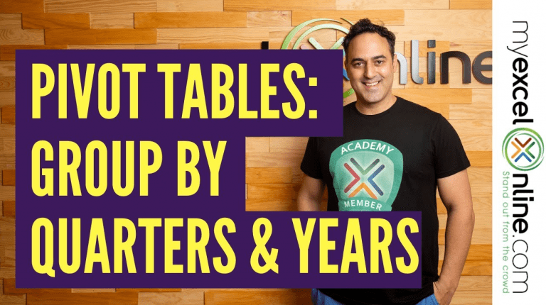 Group By Quarters and Years With Excel Pivot Tables
