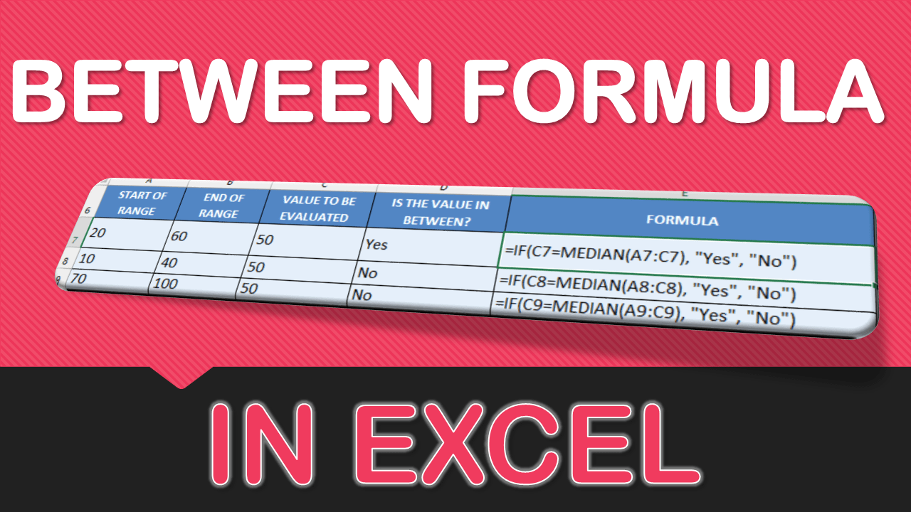BETWEEN Formula in Excel