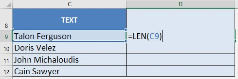 Getting the length of text with Excel's LEN Formula | MyExcelOnline