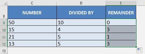 how to get remainder in excel