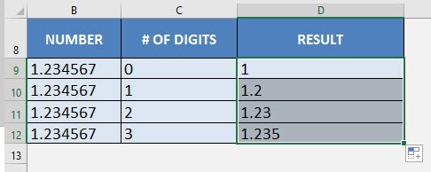 how to use round formula in excel