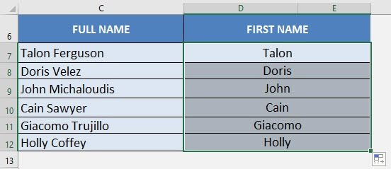 excel extract first name