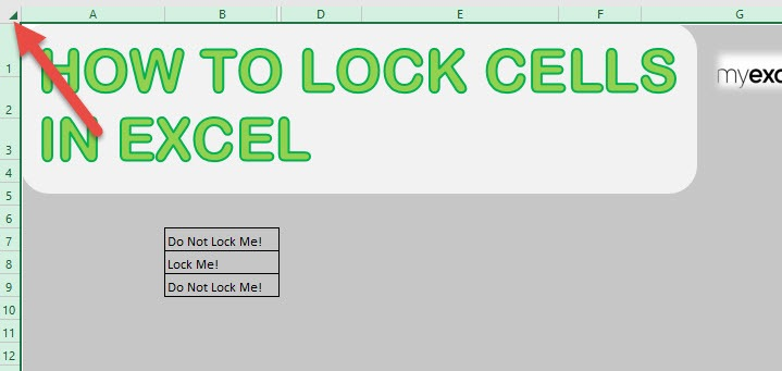 How to lock cells in excel free microsoft excel tutorials step 1 select all of the cells by clicking the upper left corner ccuart Choice Image