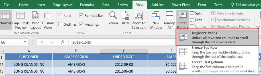 How to freeze panes in excel free microsoft excel tutorials step 3 the next question is what if its not the first row that you want to freeze say you want rows 1 to 5 to be frozen ccuart Gallery