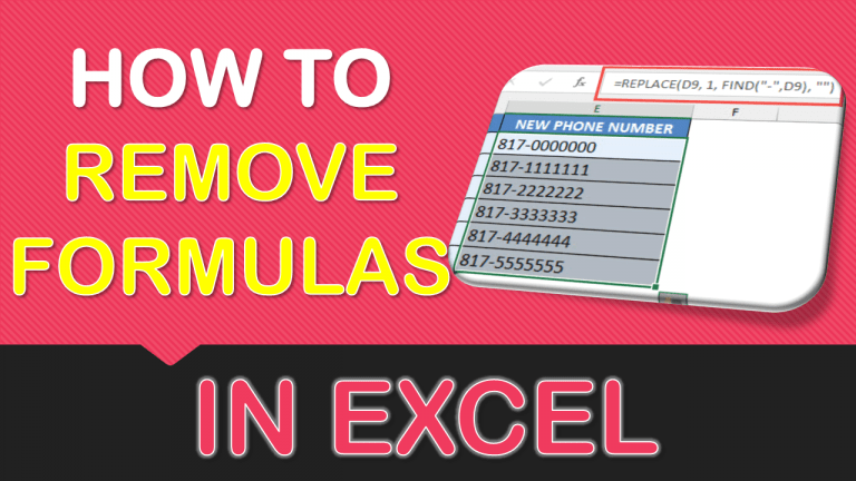 How to Remove Formulas in Excel
