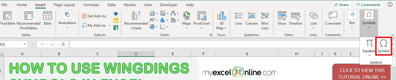How to Use Wingdings Characters in Excel | MyExcelOnline
