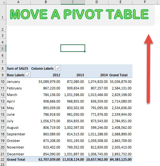 Move an Excel Pivot Table