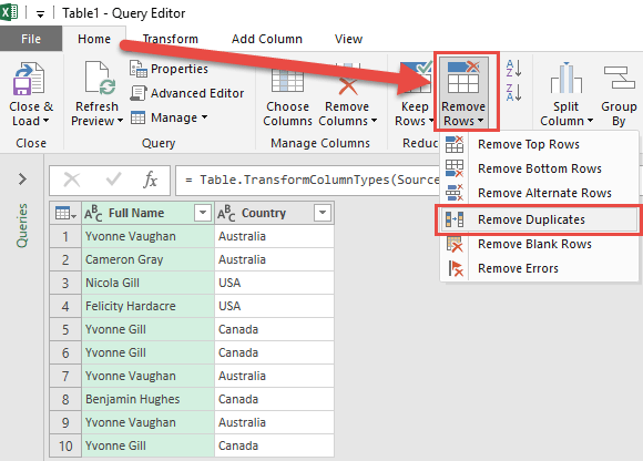 Remove Duplicates with Power Query