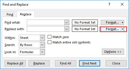 Replace Excel Formatting with Another Formatting