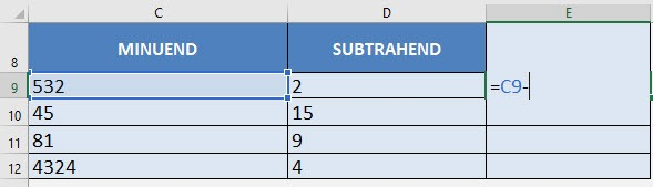 Subtraction Formula in Excel