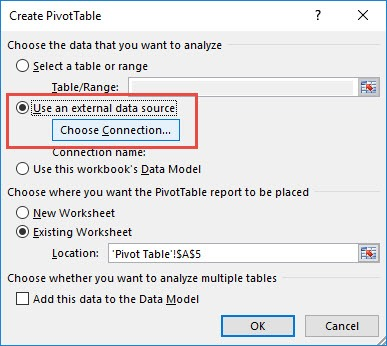 External Data Source to Import Data into an Excel Pivot Table | Free