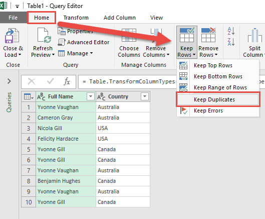 Keep Duplicates Using Power Query or Get & Transform