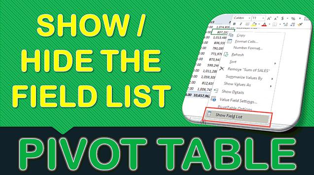 Show & Hide Field List in Excel Pivot Table