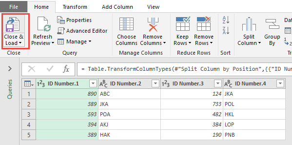 Split Column By Number of Characters Using Power Query