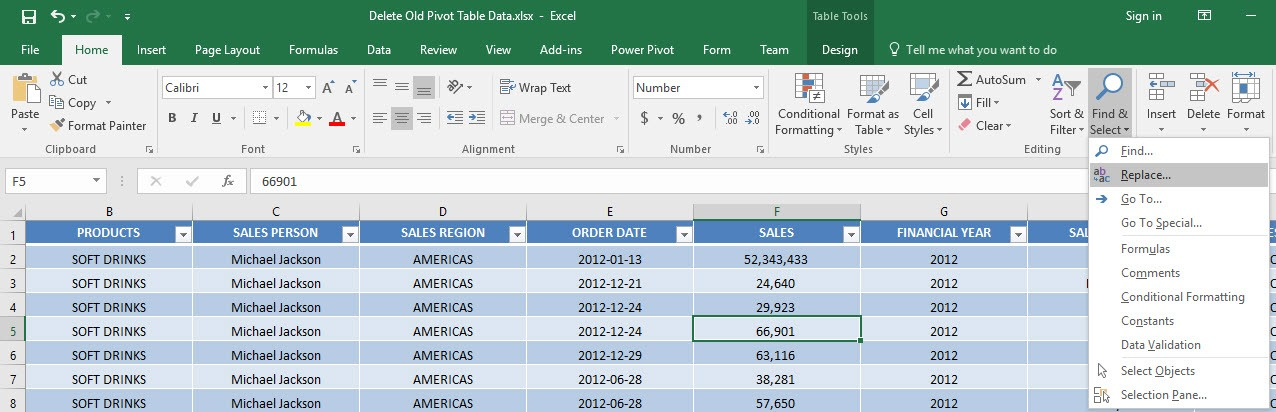 Clear & Delete Old Pivot Table Items cache