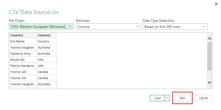 Import Data from CSV Using Power Query