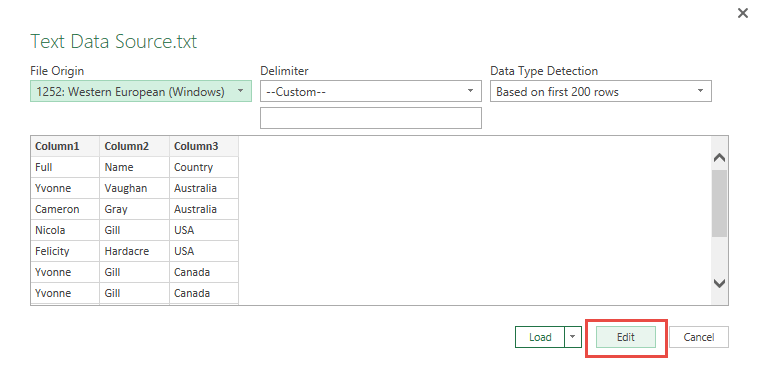 Import Data from Text Using Power Query or Get & Transform