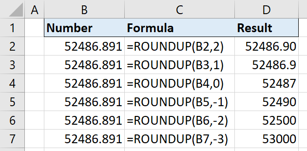 round numbers in excel
