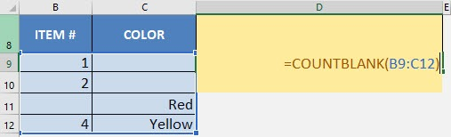 CountBlank Formula in Excel