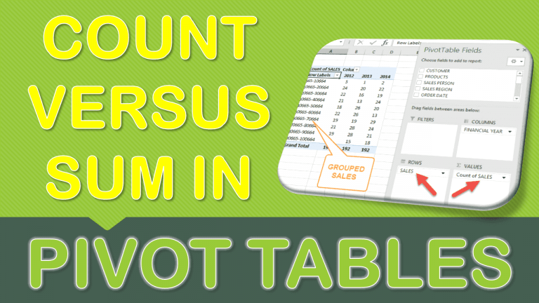Sum vs Count in Pivot Table | MyExcelOnline