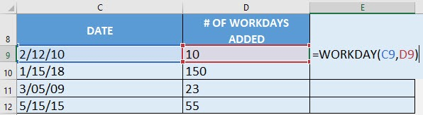 Workday Formula in Excel