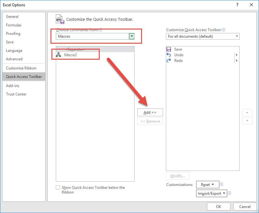 How to Add a Macro to the Quick Access Toolbar in Excel