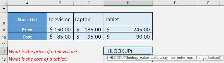 HLOOKUP Function in Excel: Introduction