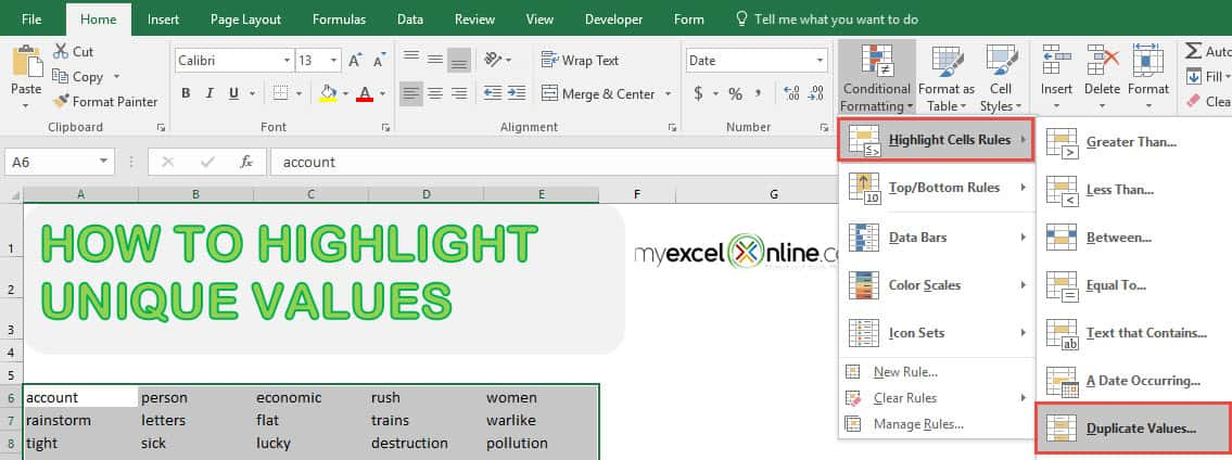 Highlight Unique Values in Excel