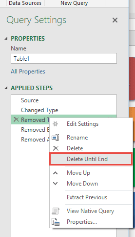 Delete Steps Until End In Power Query