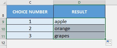 CHOOSE Formula in Excel