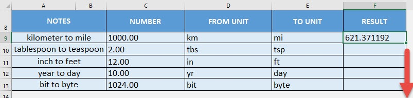 CONVERT Formula in Excel