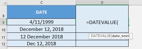 DATEVALUE Formula in Excel