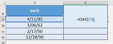 DAY Formula in Excel