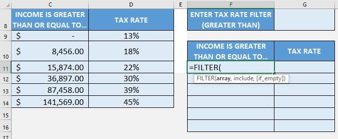 FILTER Formula in Excel