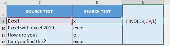 FIND Formula in Excel