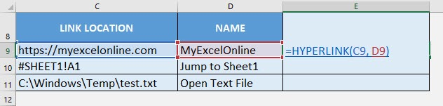 HYPERLINK Formula in Excel