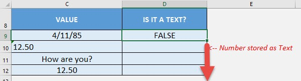 ISTEXT Formula in Excel