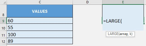 LARGE Formula in Excel