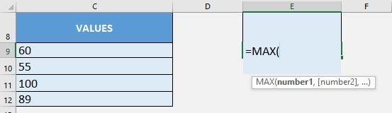 MAX Formula in Excel