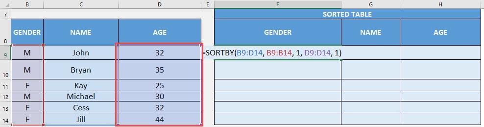 SORTBY Formula in Excel