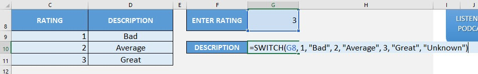 SWITCH Formula in Excel