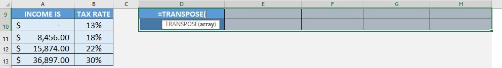 TRANSPOSE Formula in Excel